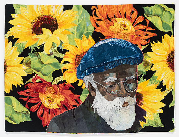 Fabric image with sun flowers and older male by Alice Beasley